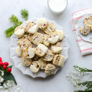 Cherry Pistachio and White Chocolate Shortbread Cookies by Baking The Goods