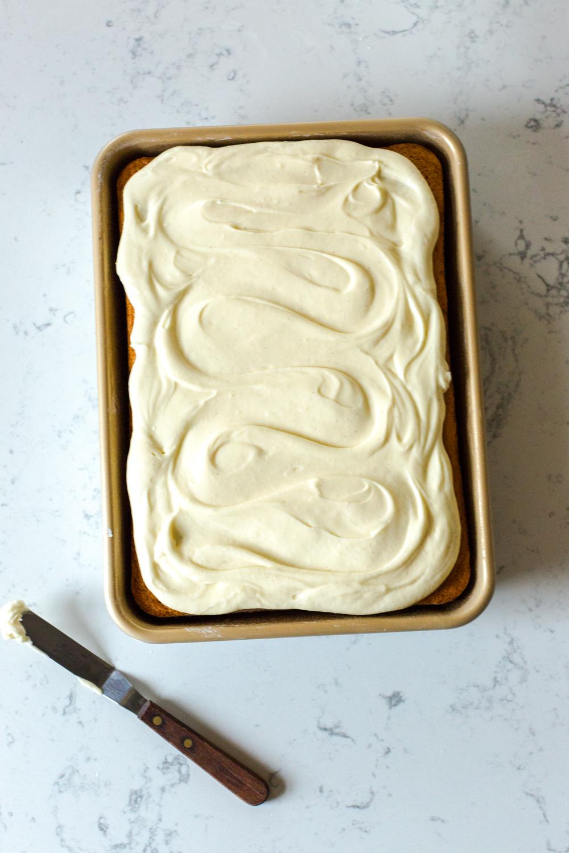 Frosting the Eggnog Sheet Cake