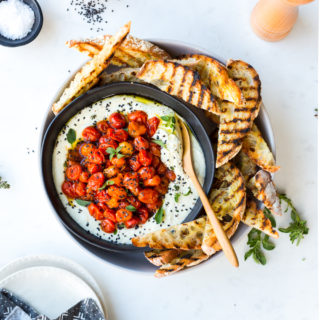 Roasted Tomato Whipped Feta Dip by Baking The Goods