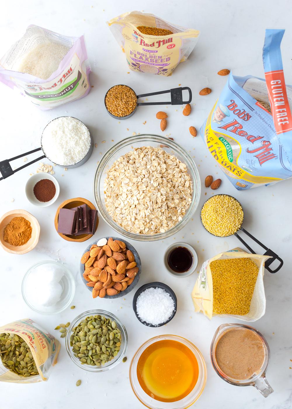 Ingredients for Seedy Almond Oat Bars