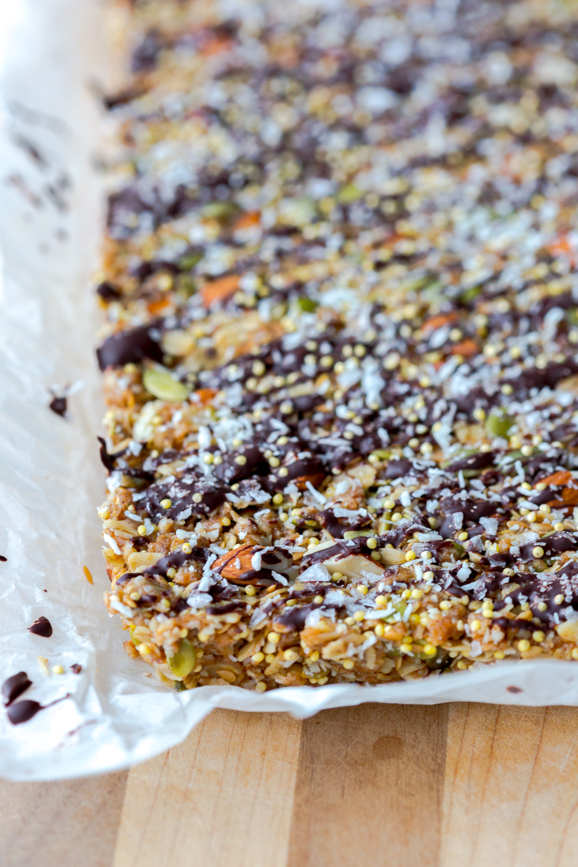 Seedy Almond Oat Bars slab