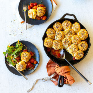 Cherry Tomato Cobbler with Cheddar Everything Biscuits by Baking The Goods