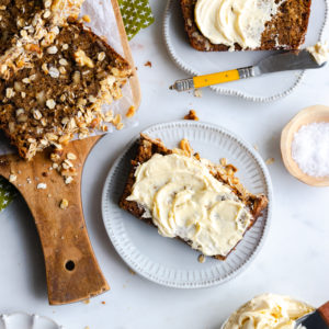 Brown Butter Apple Oat Walnut Bread with Whipped Honey Butter